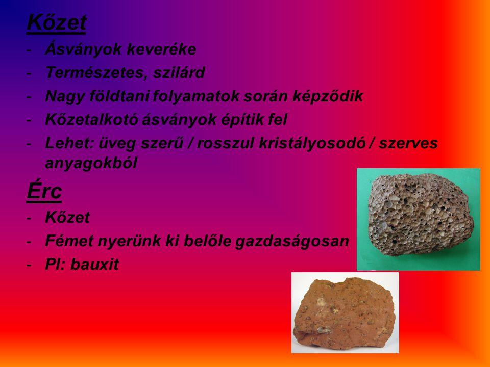 Kőzet -Ásványok keveréke -Természetes, szilárd -Nagy földtani folyamatok során képződik -Kőzetalkotó ásványok építik fel -Lehet: üveg szerű / rosszul