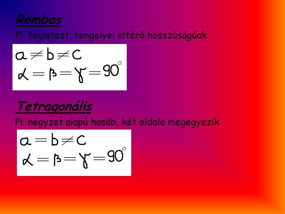Rombos Pl. téglatest, tengelyei eltérő hosszúságúak Tetragonális Pl. négyzet alapú hasáb, két oldala megegyezik