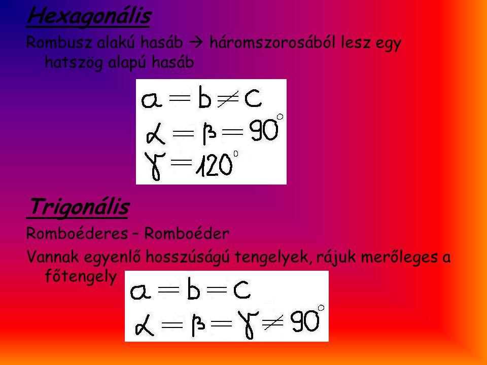Hexagonális Rombusz alakú hasáb  háromszorosából lesz egy hatszög alapú hasáb Trigonális Romboéderes – Romboéder Vannak egyenlő hosszúságú tengelyek,