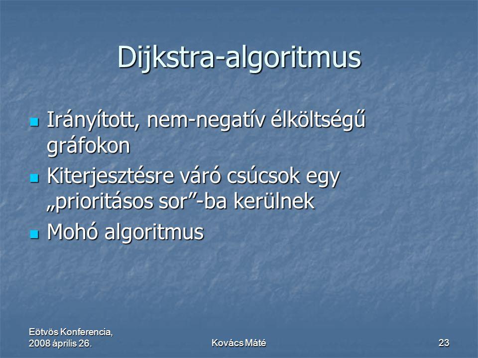 Eötvös Konferencia, 2008 április 26.Kovács Máté23 Dijkstra-algoritmus Irányított, nem-negatív élköltségű gráfokon Irányított, nem-negatív élköltségű g