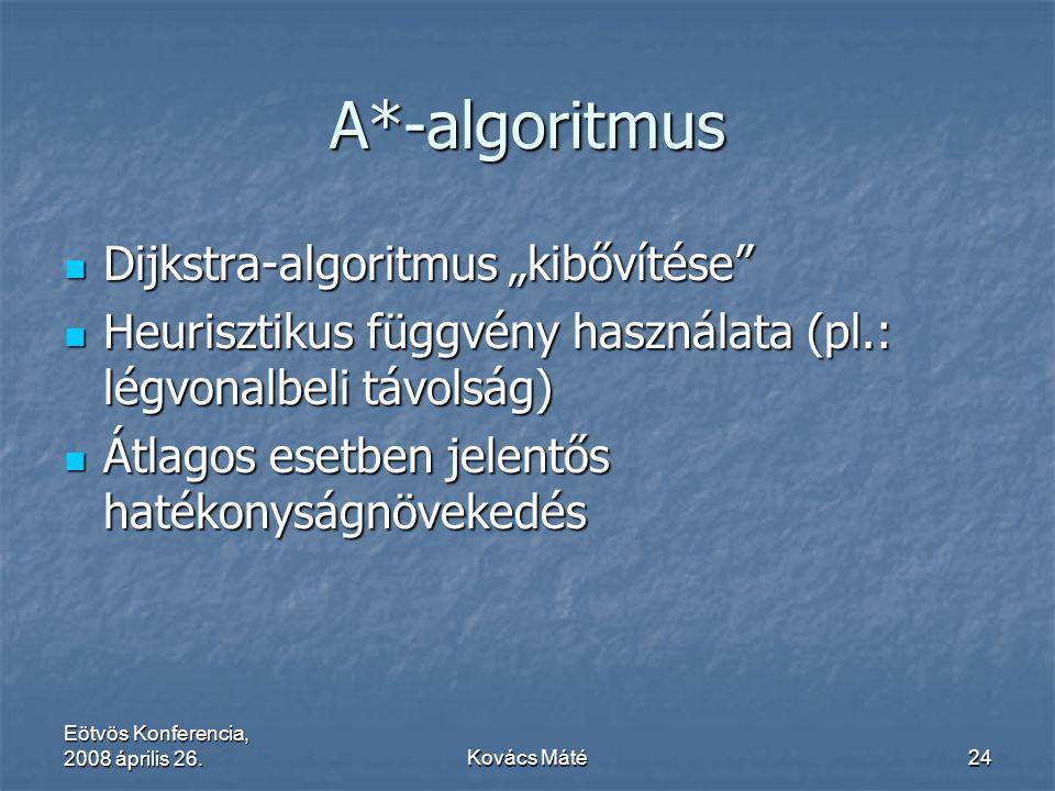 """Eötvös Konferencia, 2008 április 26.Kovács Máté24 A*-algoritmus Dijkstra-algoritmus """"kibővítése"""" Dijkstra-algoritmus """"kibővítése"""" Heurisztikus függvén"""