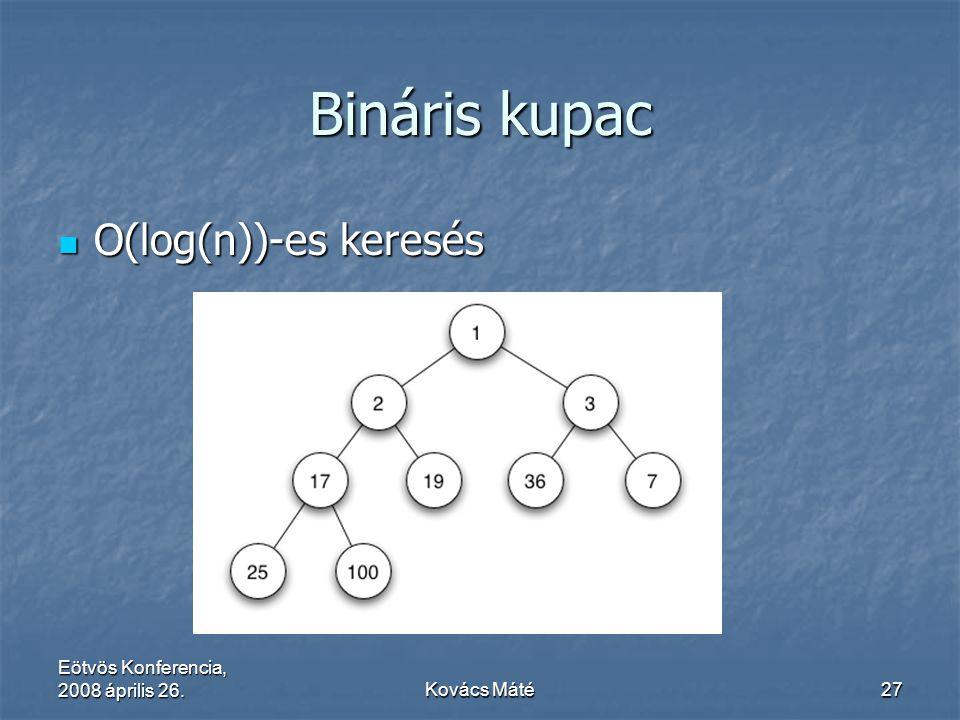 Eötvös Konferencia, 2008 április 26.Kovács Máté27 Bináris kupac O(log(n))-es keresés O(log(n))-es keresés