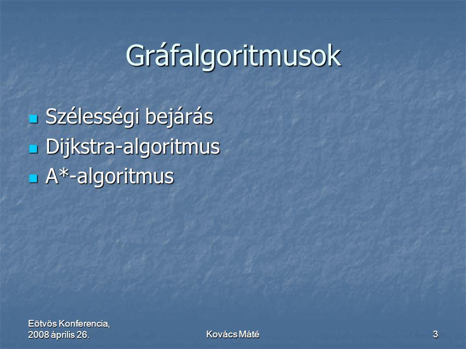 Eötvös Konferencia, 2008 április 26.Kovács Máté3 Gráfalgoritmusok Szélességi bejárás Szélességi bejárás Dijkstra-algoritmus Dijkstra-algoritmus A*-alg