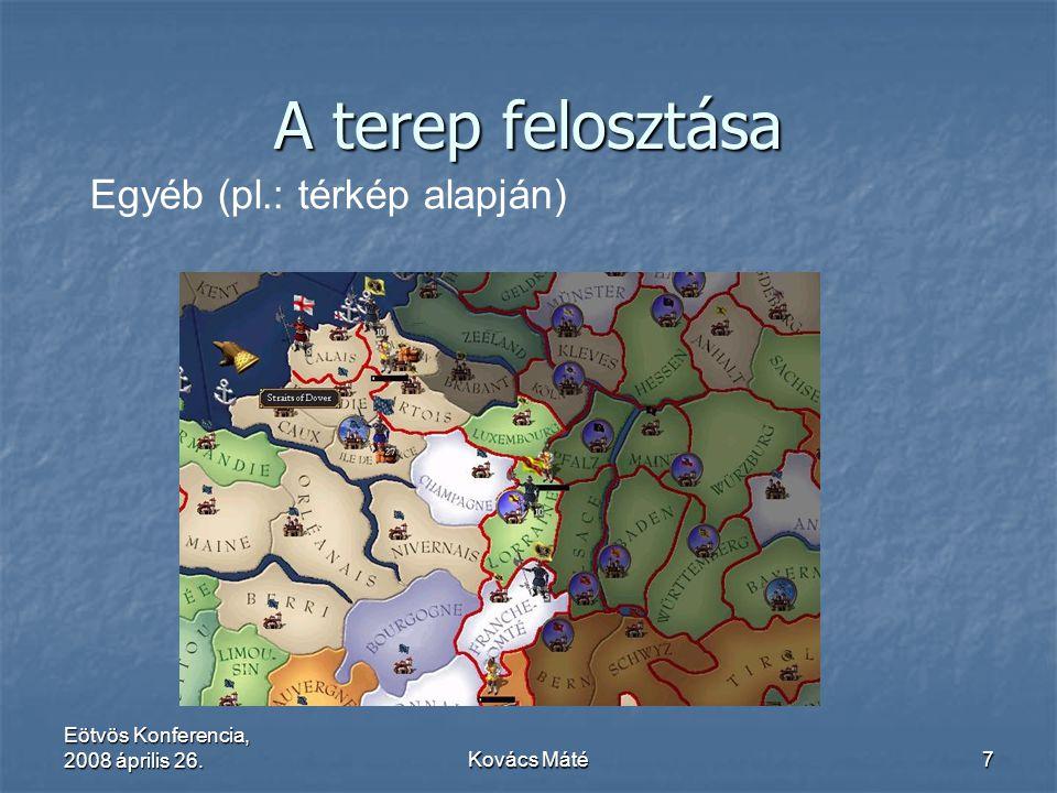 Eötvös Konferencia, 2008 április 26.Kovács Máté7 A terep felosztása Egyéb (pl.: térkép alapján)
