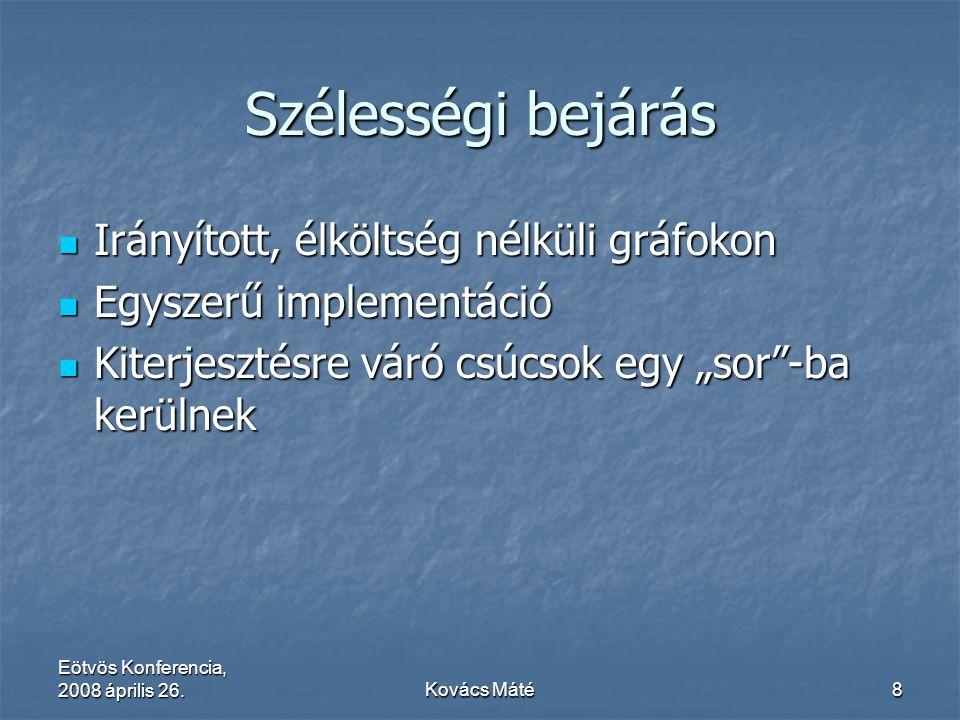 Eötvös Konferencia, 2008 április 26.Kovács Máté8 Szélességi bejárás Irányított, élköltség nélküli gráfokon Irányított, élköltség nélküli gráfokon Egys