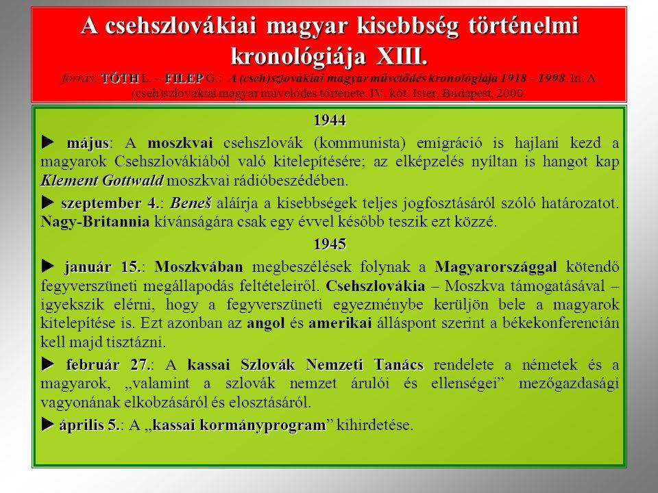 1944 május KlementGottwald  május: A moszkvai csehszlovák (kommunista) emigráció is hajlani kezd a magyarok Csehszlovákiából való kitelepítésére; az elképzelés nyíltan is hangot kap Klement Gottwald moszkvai rádióbeszédében.