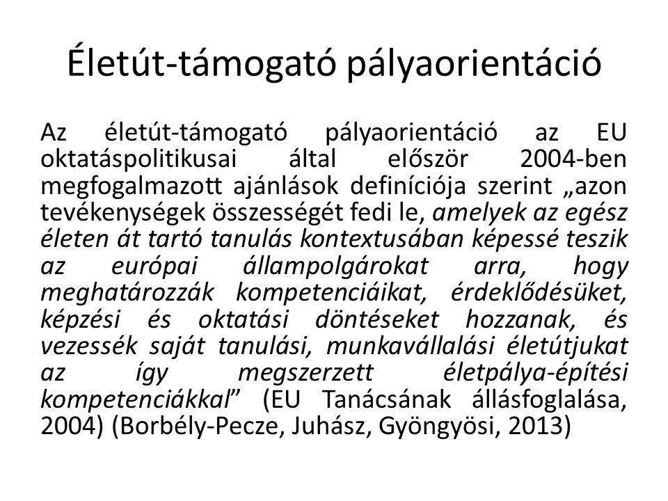 """Életút-támogató pályaorientáció Az életút-támogató pályaorientáció az EU oktatáspolitikusai által először 2004-ben megfogalmazott ajánlások definíciója szerint """"azon tevékenységek összességét fedi le, amelyek az egész életen át tartó tanulás kontextusában képessé teszik az európai állampolgárokat arra, hogy meghatározzák kompetenciáikat, érdeklődésüket, képzési és oktatási döntéseket hozzanak, és vezessék saját tanulási, munkavállalási életútjukat az így megszerzett életpálya-építési kompetenciákkal (EU Tanácsának állásfoglalása, 2004) (Borbély-Pecze, Juhász, Gyöngyösi, 2013)"""