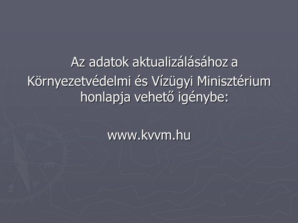 Az adatok aktualizálásához a Környezetvédelmi és Vízügyi Minisztérium honlapja vehető igénybe: www.kvvm.hu