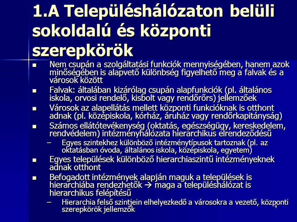 10 1.A Településhálózaton belüli sokoldalú és központi szerepkörök Funkcionális városfogalom: egyes országok (pl.