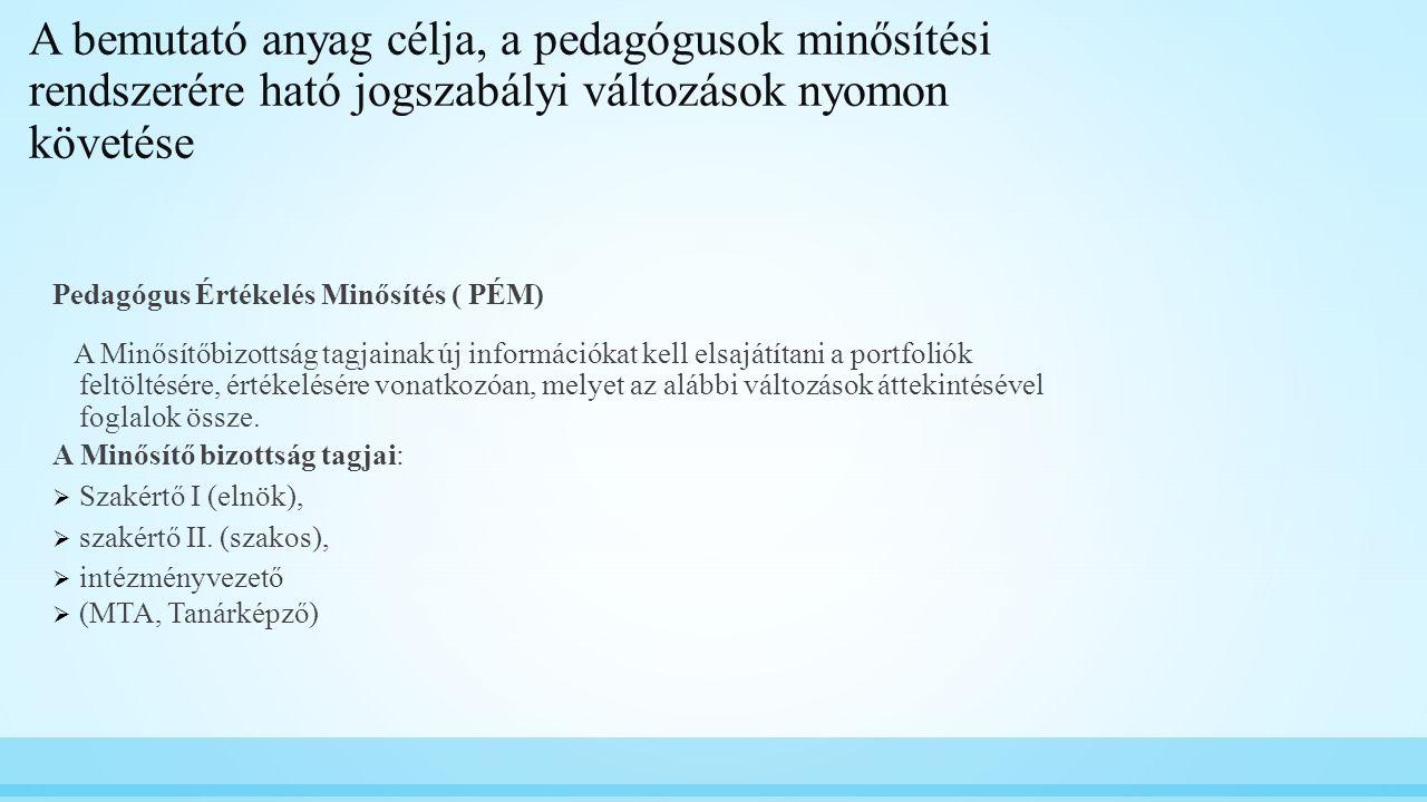 A bemutató anyag célja, a pedagógusok minősítési rendszerére ható jogszabályi változások nyomon követése Pedagógus Értékelés Minősítés ( PÉM) A Minősí