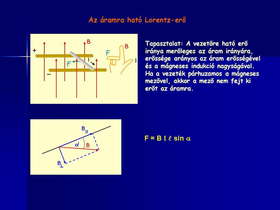 Az áramra ható Lorentz-erő Tapasztalat: A vezetőre ható erő iránya merőleges az áram irányára, erőssége arányos az áram erősségével és a mágneses indukció nagyságával.