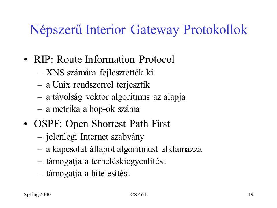 Spring 2000CS 46119 Népszerű Interior Gateway Protokollok RIP: Route Information Protocol –XNS számára fejlesztették ki –a Unix rendszerrel terjesztik –a távolság vektor algoritmus az alapja –a metrika a hop-ok száma OSPF: Open Shortest Path First –jelenlegi Internet szabvány –a kapcsolat állapot algoritmust alklamazza –támogatja a terheléskiegyenlítést –támogatja a hitelesítést