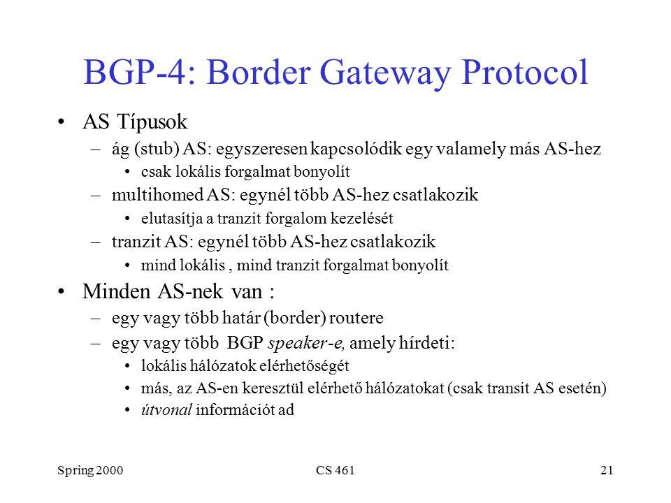 Spring 2000CS 46121 BGP-4: Border Gateway Protocol AS Típusok –ág (stub) AS: egyszeresen kapcsolódik egy valamely más AS-hez csak lokális forgalmat bonyolít –multihomed AS: egynél több AS-hez csatlakozik elutasítja a tranzit forgalom kezelését –tranzit AS: egynél több AS-hez csatlakozik mind lokális, mind tranzit forgalmat bonyolít Minden AS-nek van : –egy vagy több határ (border) routere –egy vagy több BGP speaker-e, amely hírdeti: lokális hálózatok elérhetőségét más, az AS-en keresztül elérhető hálózatokat (csak transit AS esetén) útvonal információt ad