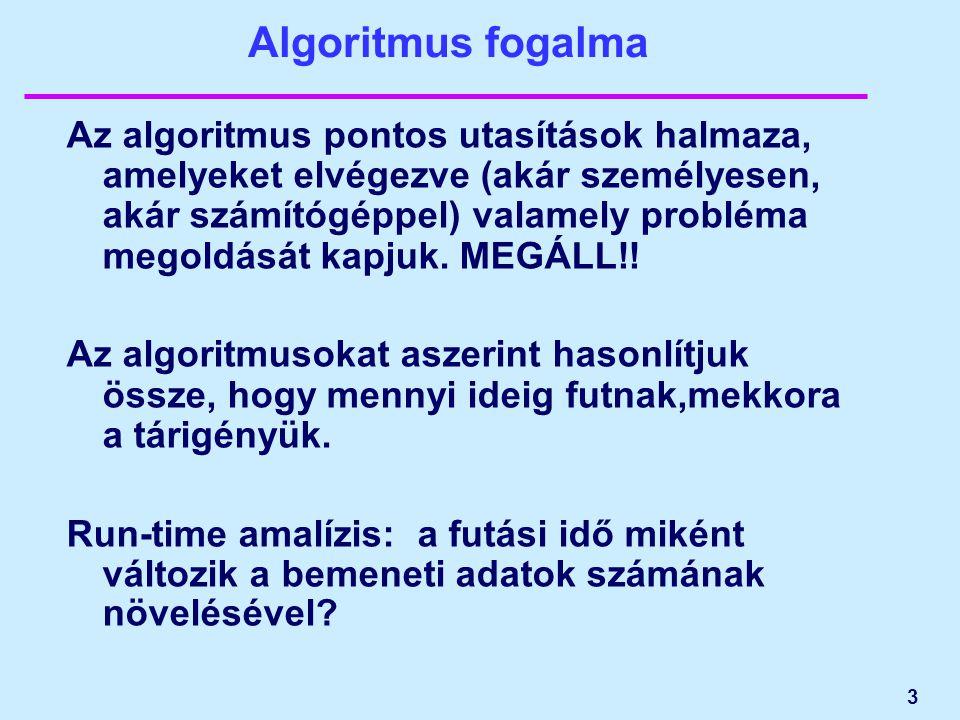 Algoritmus fogalma Az algoritmus pontos utasítások halmaza, amelyeket elvégezve (akár személyesen, akár számítógéppel) valamely probléma megoldását kapjuk.