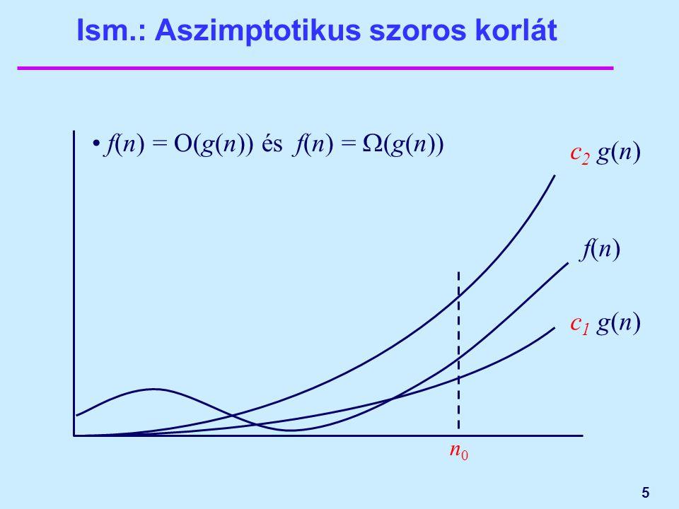 5 Ism.: Aszimptotikus szoros korlát f(n)f(n) c 1 g(n) f(n) = O(g(n)) és f(n) =  (g(n)) n0n0 c 2 g(n)