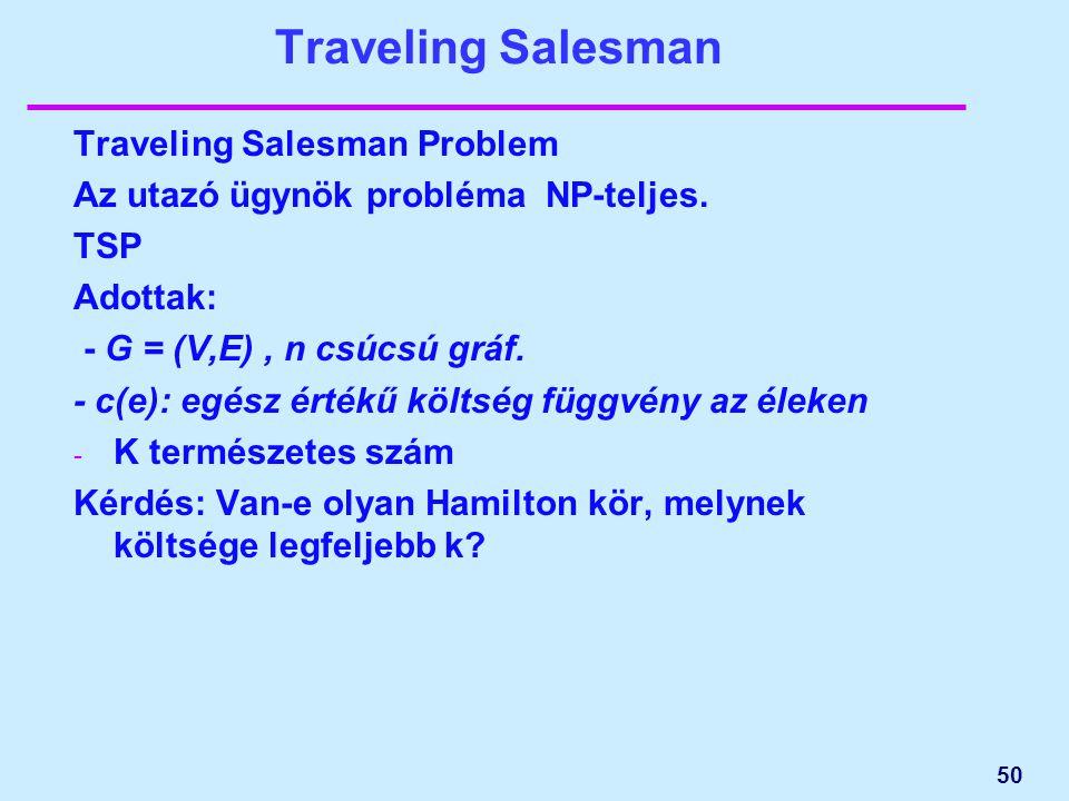 Traveling Salesman Traveling Salesman Problem Az utazó ügynök probléma NP-teljes. TSP Adottak: - G = (V,E), n csúcsú gráf. - c(e): egész értékű költsé