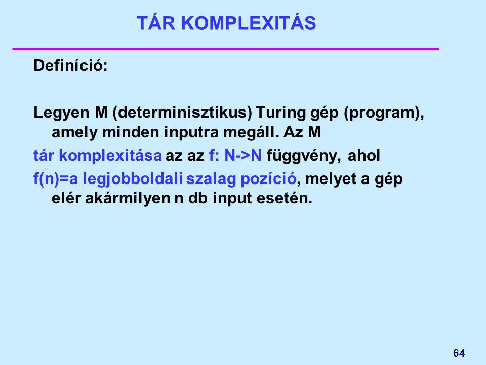 64 TÁR KOMPLEXITÁS Definíció: Legyen M (determinisztikus) Turing gép (program), amely minden inputra megáll. Az M tár komplexitása az az f: N->N függv