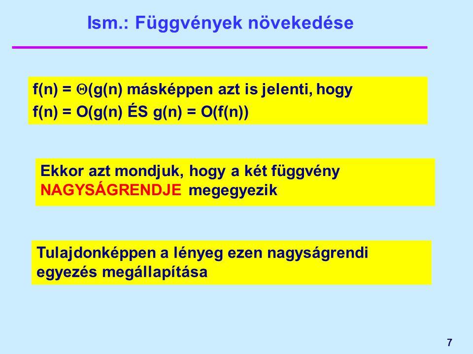 7 Ism.: Függvények növekedése f(n) =  (g(n) másképpen azt is jelenti, hogy f(n) = O(g(n) ÉS g(n) = O(f(n)) Ekkor azt mondjuk, hogy a két függvény NAG