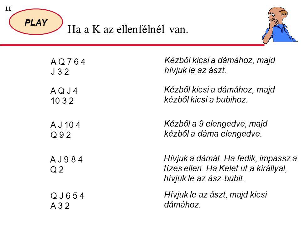 11 PLAY Ha a K az ellenfélnél van. A Q 7 6 4 J 3 2 Kézből kicsi a dámához, majd hívjuk le az ászt.