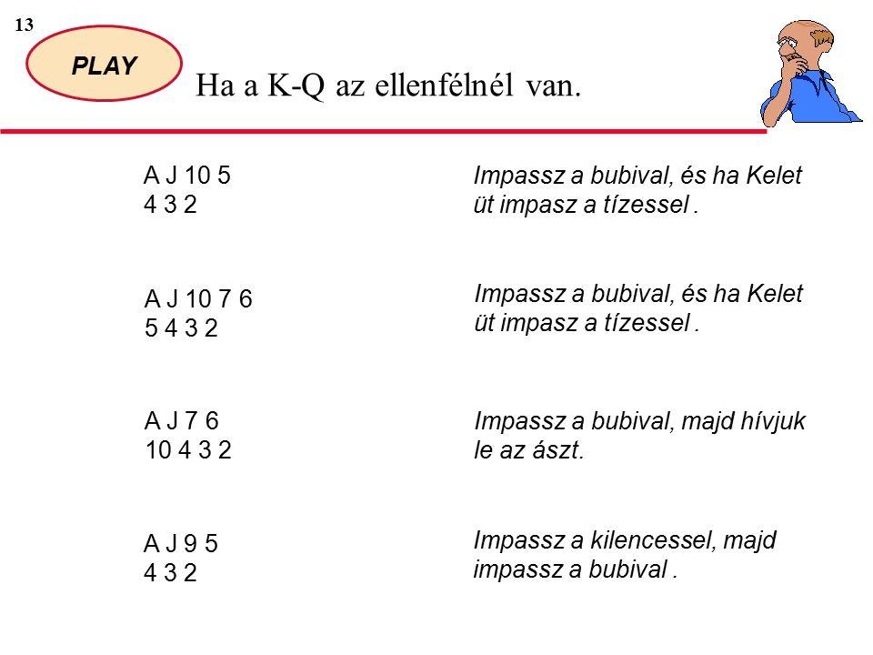 13 PLAY Ha a K-Q az ellenfélnél van.