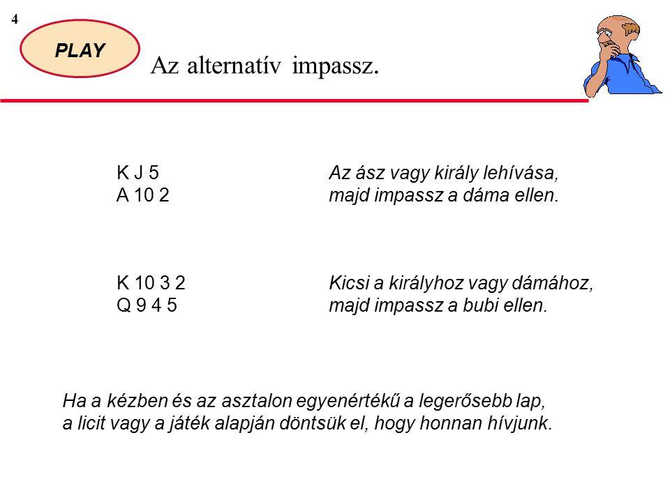 4 PLAY Az alternatív impassz. K J 5 A 10 2 Az ász vagy király lehívása, majd impassz a dáma ellen.