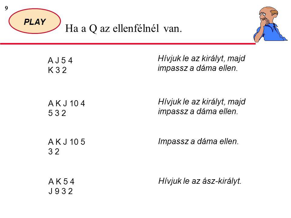 10 PLAY Ha a Q az ellenfélnél van.