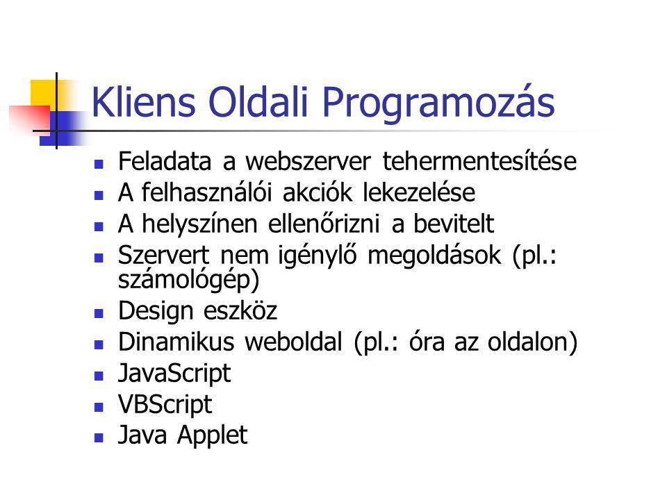Kliens Oldali Programozás Feladata a webszerver tehermentesítése A felhasználói akciók lekezelése A helyszínen ellenőrizni a bevitelt Szervert nem igénylő megoldások (pl.: számológép) Design eszköz Dinamikus weboldal (pl.: óra az oldalon) JavaScript VBScript Java Applet