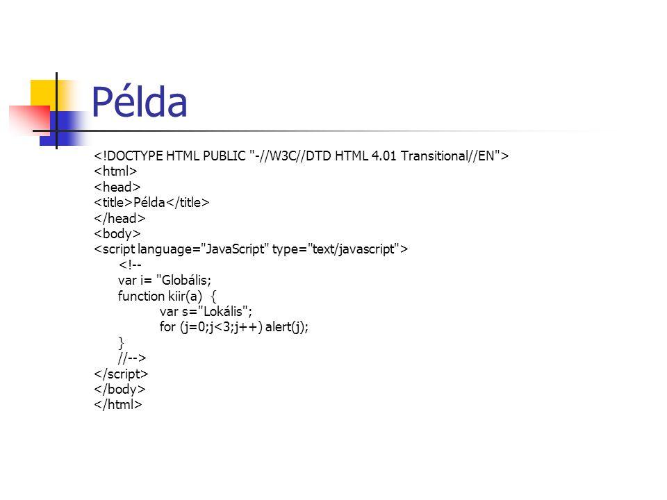 Példa Példa <!-- var i= Globális; function kiir(a) { var s= Lokális ; for (j=0;j<3;j++) alert(j); } //-->