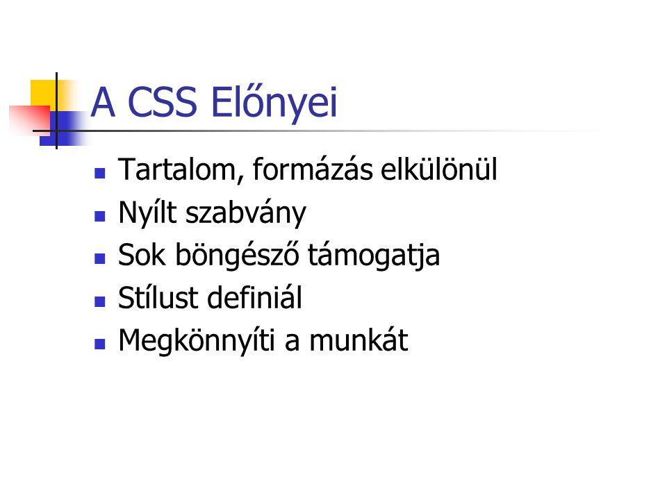A CSS Előnyei Tartalom, formázás elkülönül Nyílt szabvány Sok böngésző támogatja Stílust definiál Megkönnyíti a munkát