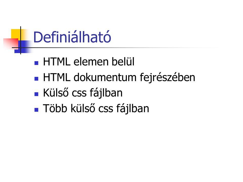 Definiálható HTML elemen belül HTML dokumentum fejrészében Külső css fájlban Több külső css fájlban