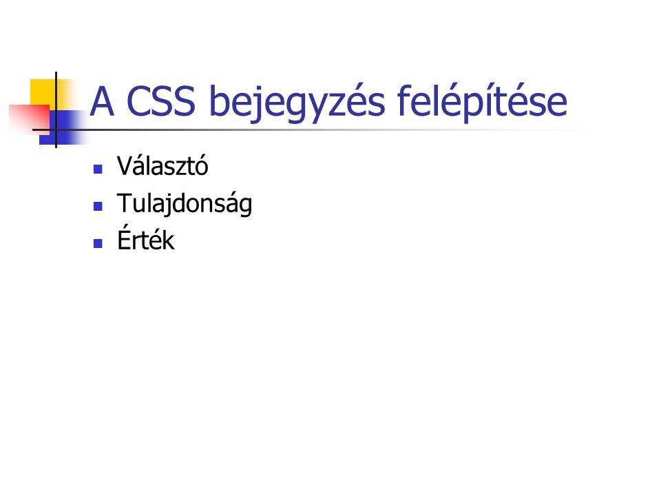 A CSS bejegyzés felépítése Választó Tulajdonság Érték