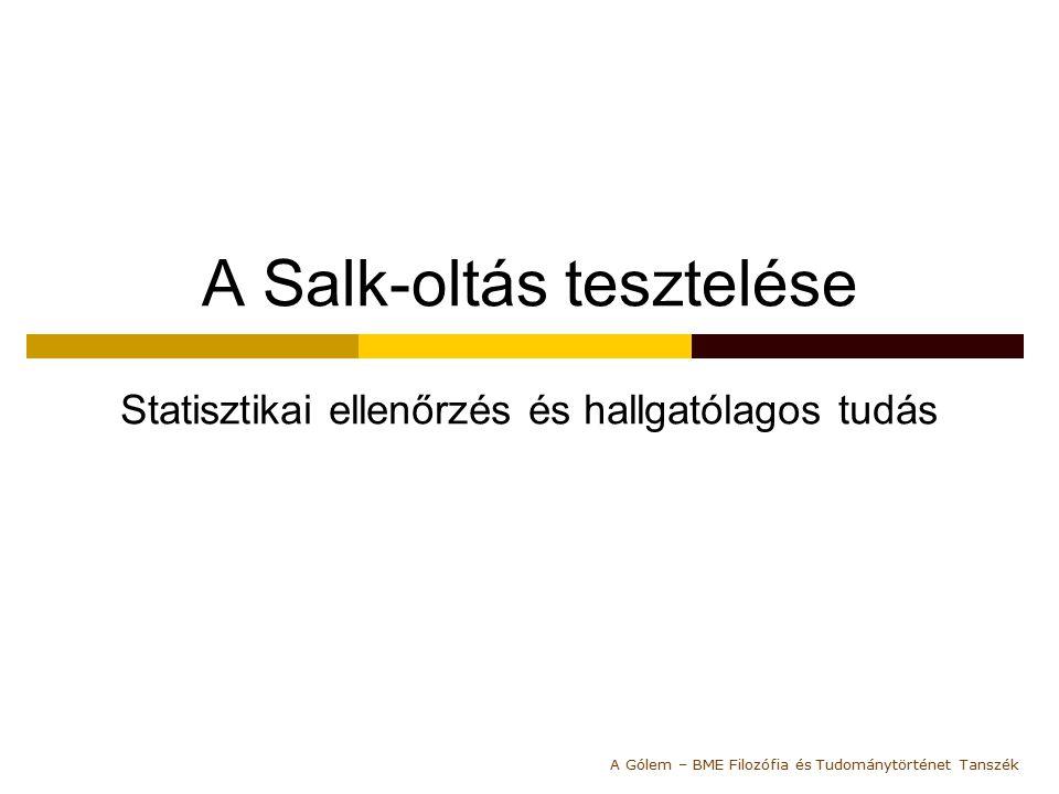 A Salk-oltás tesztelése Statisztikai ellenőrzés és hallgatólagos tudás A Gólem – BME Filozófia és Tudománytörténet Tanszék