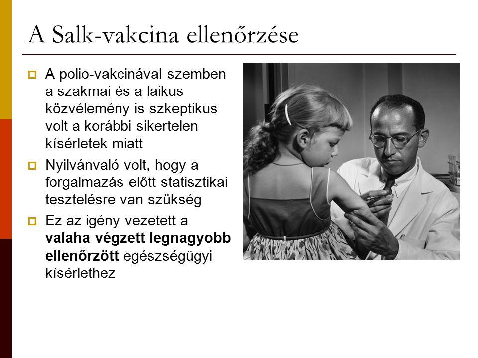 A Salk-vakcina ellenőrzése  A polio-vakcinával szemben a szakmai és a laikus közvélemény is szkeptikus volt a korábbi sikertelen kísérletek miatt  Nyilvánvaló volt, hogy a forgalmazás előtt statisztikai tesztelésre van szükség  Ez az igény vezetett a valaha végzett legnagyobb ellenőrzött egészségügyi kísérlethez