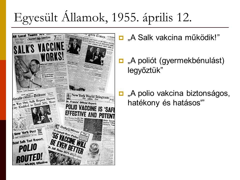 """Egyesült Államok, 1955. április 12.  """"A Salk vakcina működik!""""  """"A poliót (gyermekbénulást) legyőztük""""  """"A polio vakcina biztonságos, hatékony és h"""