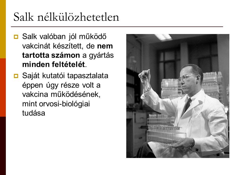 Salk nélkülözhetetlen  Salk valóban jól működő vakcinát készített, de nem tartotta számon a gyártás minden feltételét.  Saját kutatói tapasztalata é