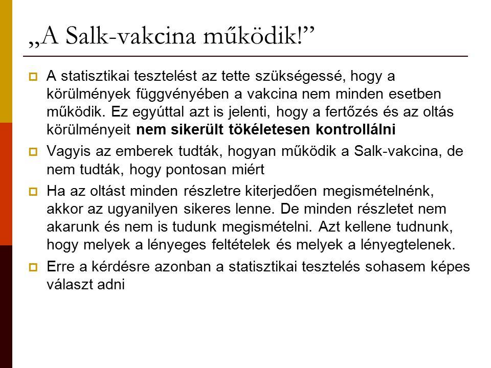 """""""A Salk-vakcina működik!  A statisztikai tesztelést az tette szükségessé, hogy a körülmények függvényében a vakcina nem minden esetben működik."""