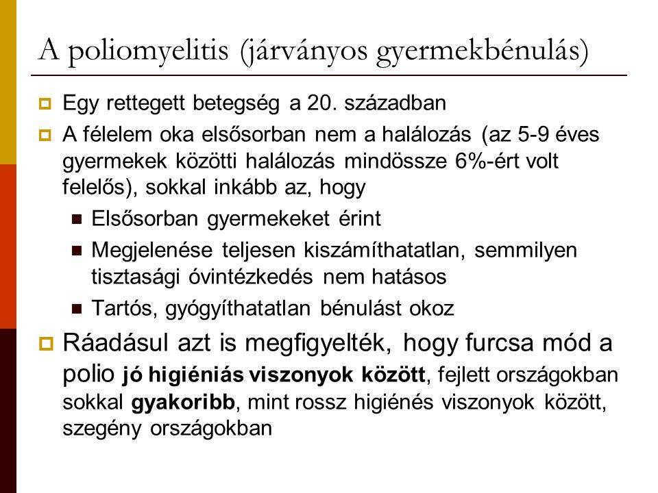 A poliomyelitis (járványos gyermekbénulás)  Egy rettegett betegség a 20. században  A félelem oka elsősorban nem a halálozás (az 5-9 éves gyermekek