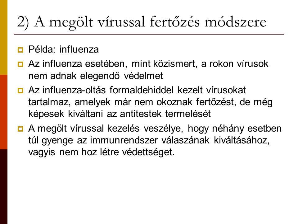 2) A megölt vírussal fertőzés módszere  Példa: influenza  Az influenza esetében, mint közismert, a rokon vírusok nem adnak elegendő védelmet  Az in
