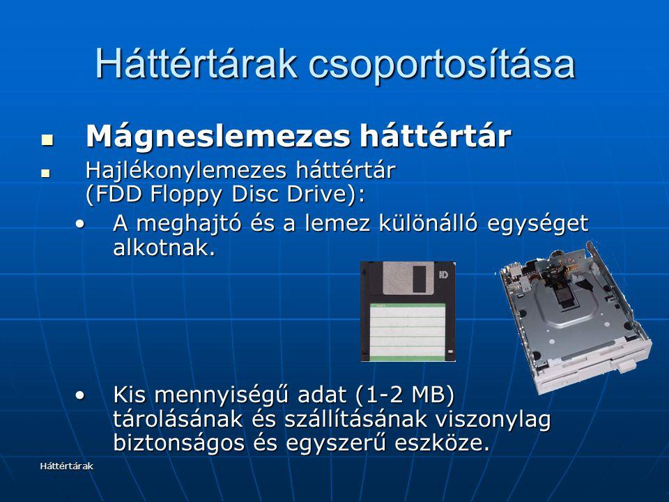 Háttértárak Háttértárak csoportosítása Mágneslemezes háttértár Mágneslemezes háttértár Hajlékonylemezes háttértár (FDD Floppy Disc Drive): Hajlékonylemezes háttértár (FDD Floppy Disc Drive): A meghajtó és a lemez különálló egységet alkotnak.A meghajtó és a lemez különálló egységet alkotnak.