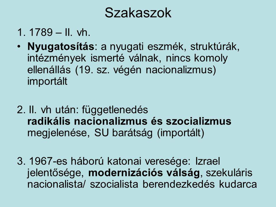 Szakaszok 1. 1789 – II. vh. Nyugatosítás: a nyugati eszmék, struktúrák, intézmények ismerté válnak, nincs komoly ellenállás (19. sz. végén nacionalizm