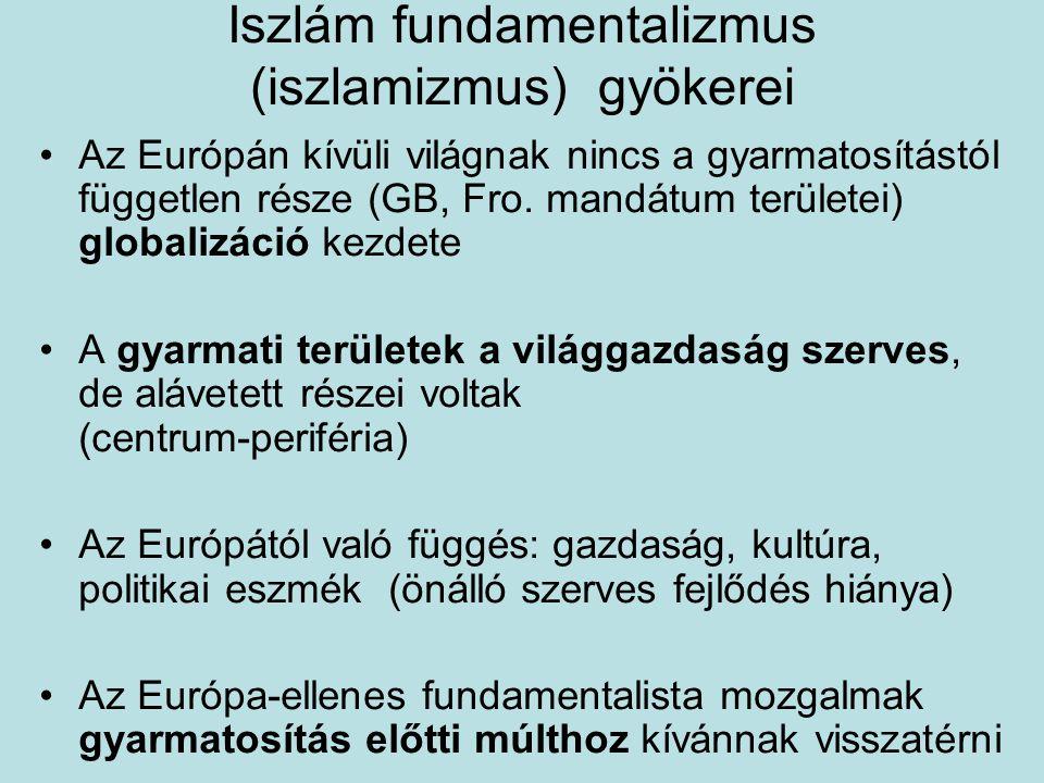 Iszlám fundamentalizmus (iszlamizmus) gyökerei Az Európán kívüli világnak nincs a gyarmatosítástól független része (GB, Fro. mandátum területei) globa