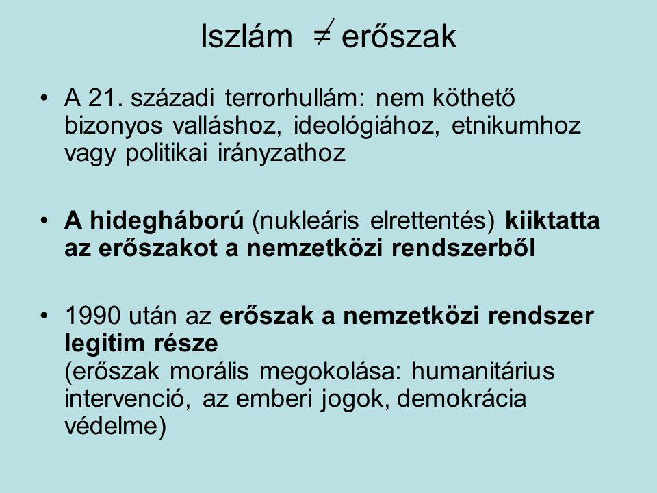 Iszlám = erőszak A 21. századi terrorhullám: nem köthető bizonyos valláshoz, ideológiához, etnikumhoz vagy politikai irányzathoz A hidegháború (nukleá