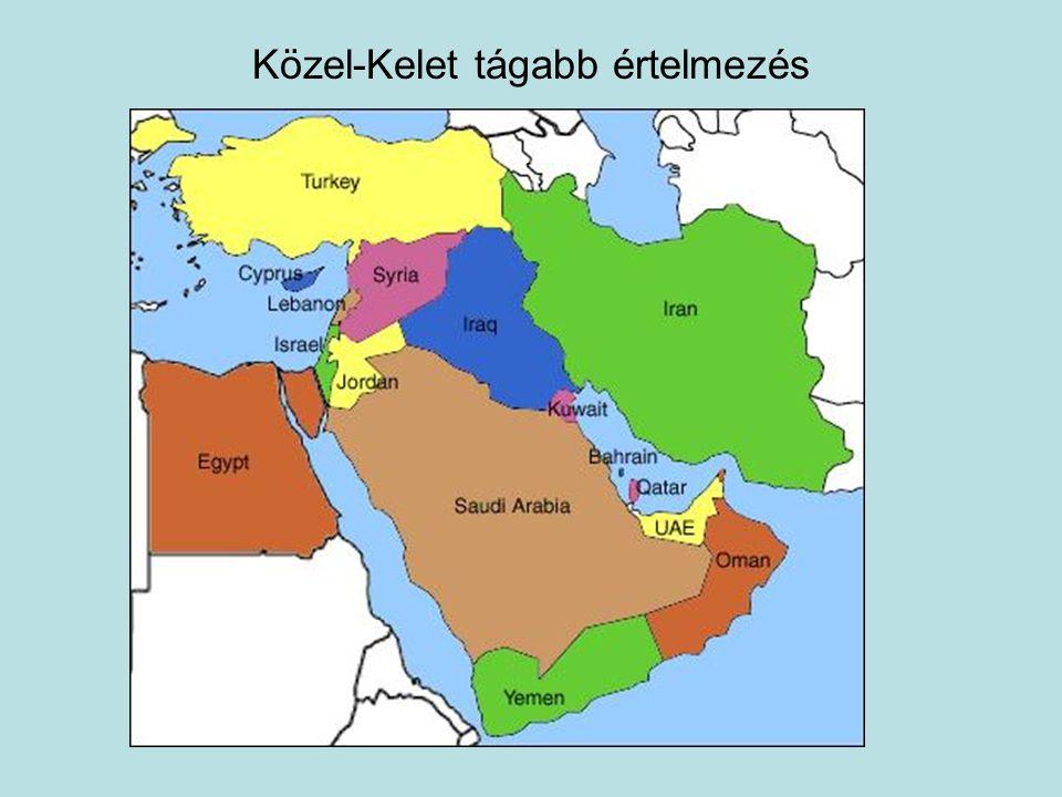 Közel-Kelet Politika-történeti és nem földrajzi fogalom Rendkívül konfliktusokkal telített régió Konfliktus eredete: Oszmán Birodalom felbomlása Angol és francia mandátum (két vh.