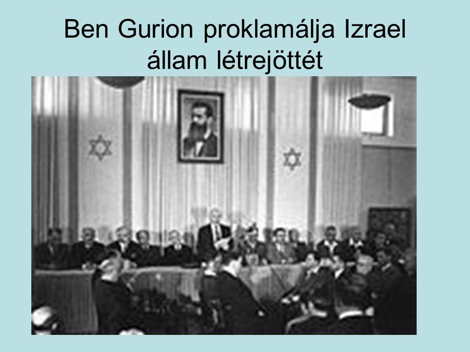 Ben Gurion proklamálja Izrael állam létrejöttét