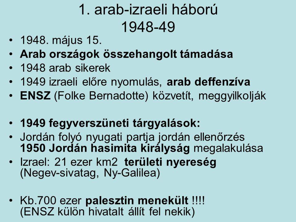 1. arab-izraeli háború 1948-49 1948. május 15. Arab országok összehangolt támadása 1948 arab sikerek 1949 izraeli előre nyomulás, arab deffenzíva ENSZ