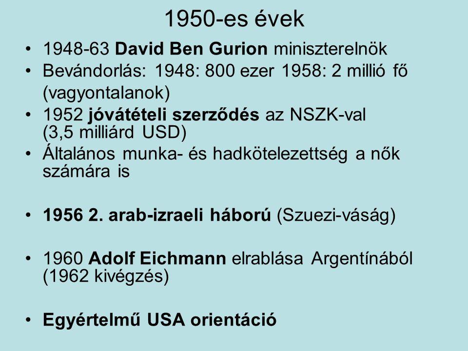 1950-es évek 1948-63 David Ben Gurion miniszterelnök Bevándorlás: 1948: 800 ezer 1958: 2 millió fő (vagyontalanok) 1952 jóvátételi szerződés az NSZK-v