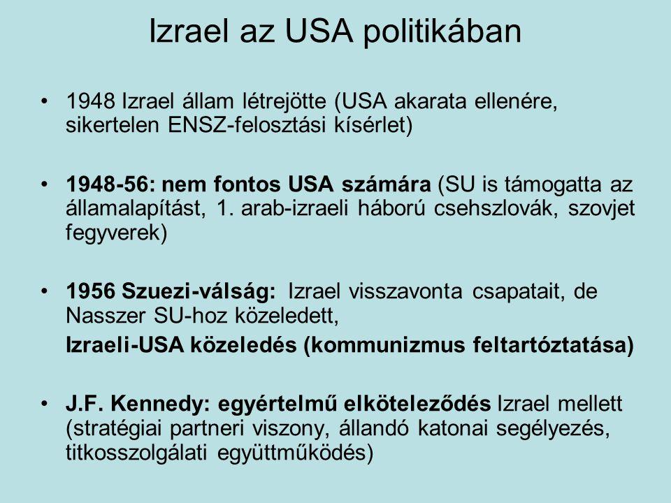 Izrael az USA politikában 1948 Izrael állam létrejötte (USA akarata ellenére, sikertelen ENSZ-felosztási kísérlet) 1948-56: nem fontos USA számára (SU