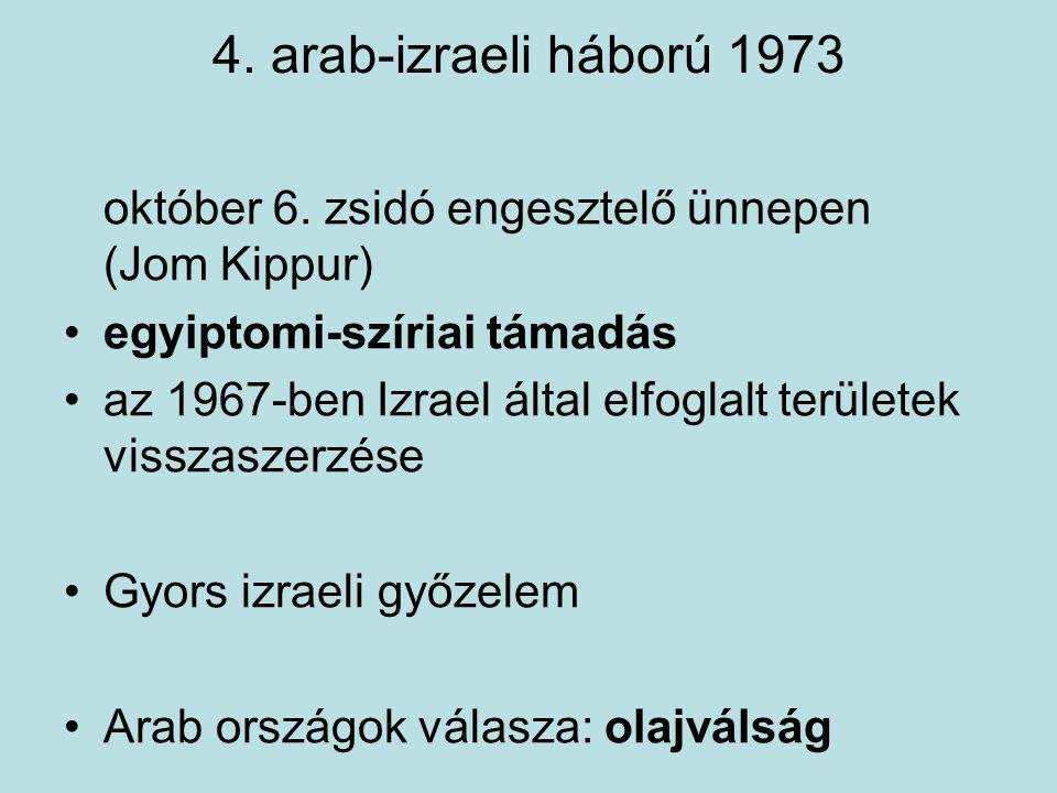 4. arab-izraeli háború 1973 október 6. zsidó engesztelő ünnepen (Jom Kippur) egyiptomi-szíriai támadás az 1967-ben Izrael által elfoglalt területek vi