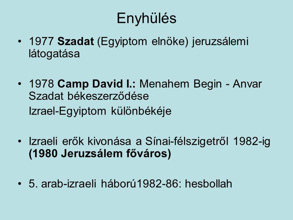 Enyhülés 1977 Szadat (Egyiptom elnöke) jeruzsálemi látogatása 1978 Camp David I.: Menahem Begin - Anvar Szadat békeszerződése Izrael-Egyiptom különbék