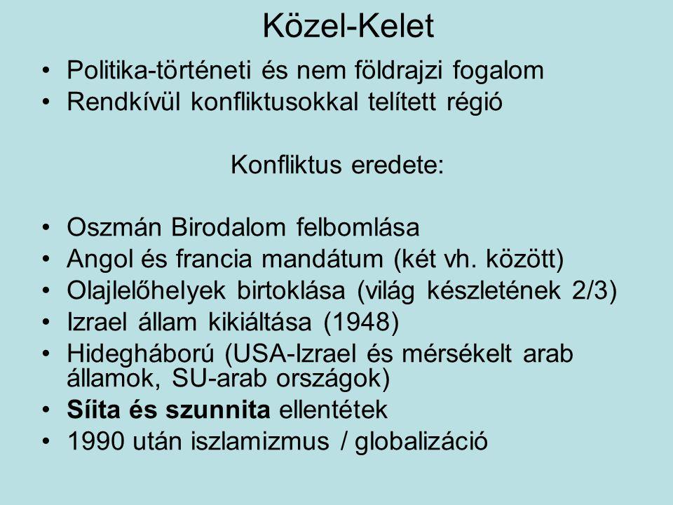 Palesztin megosztottság 1993: Palesztin autonóm terület / Hatóság Fatah politikai párt Jasszer Arafat vezetésével Hamasz (Iszlám Ellenállási Mozgalom) radikálisabb és népszerűbb terrorszervezet (EU, USA, Izrael) 2003 Izrael védekezése: 30km védelmi fal (technikai határzár) a Gáza-övezet körül (Ariel Saron) 2006 Hamasz győzelme a Gáza-övezetben (szegényég!) 2007 önálló Hamasz-kormány Gázában állandó konfliktus, Izrael bombázása a Gaza- övezetből, ellencsapások (2008.dec., 2012.
